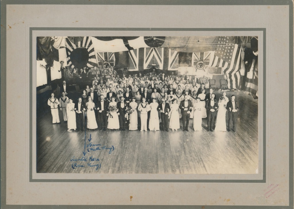 My grandmother Kathleen King and her sister Rose at war fund dance in 1914